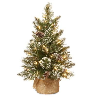 24 in. Glittery Bristle Pine Tree with Battery Operated Warm White LED Lights