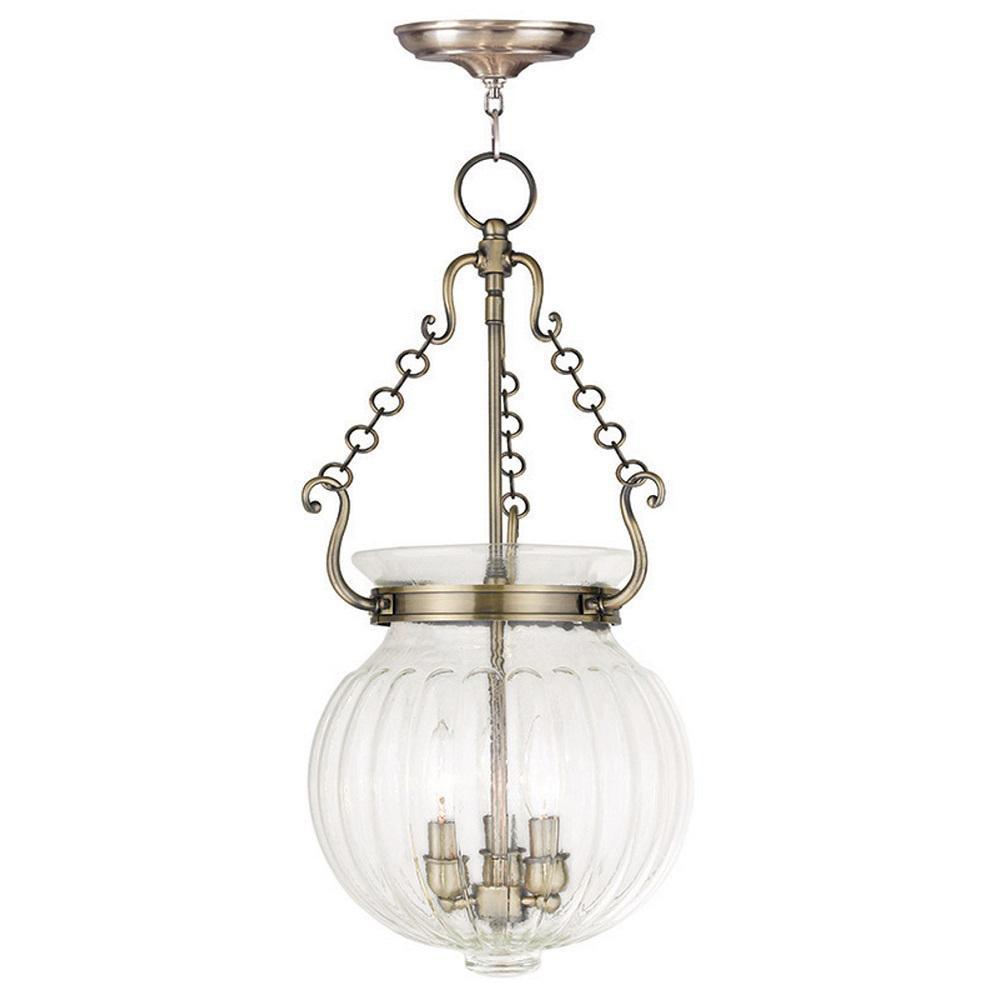 Livex Lighting Everett 3-Light Antique Brass Pendant