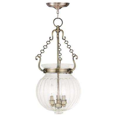 Everett 3-Light Antique Brass Pendant