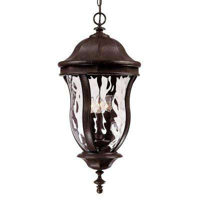 Walnut Patina 4-Light Outdoor Hanging Lantern with Clear Watered Glass
