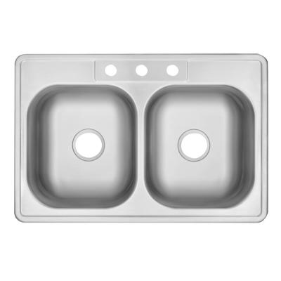 Drop-In Stainless Steel 33 in. 3-Hole 50/50 Double Bowl Kitchen Sink