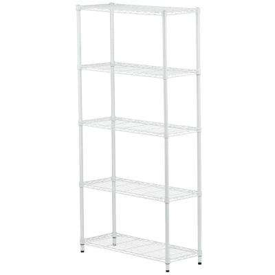 5-Tier 72 in. H x 36 in. W x 14 in. D Metal Adjustable Urban Shelving Unit in White