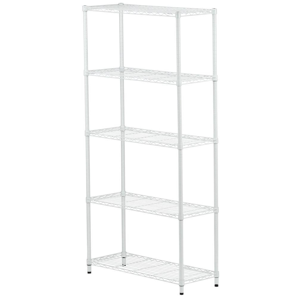 Honey-Can-Do 5-Tier 72 in. H x 14 in. W x 36 in. D Metal Adjustable Urban Shelving  Unit in White-SHF-01573 - The Home Depot