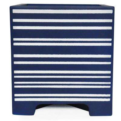 15 in. sq. Blue Painted Composite Planter in Stripes