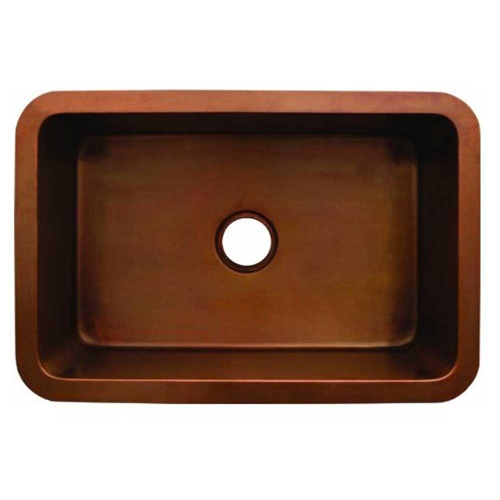 Whitehaus Collection Copperhaus Undermount Smooth Copper 20 in. Single Basin Kitchen Sink