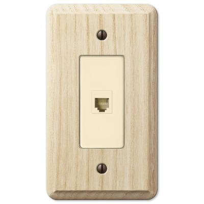 Contemporary 1 Gang Phone Wood Wall Plate - Unfinished Ash