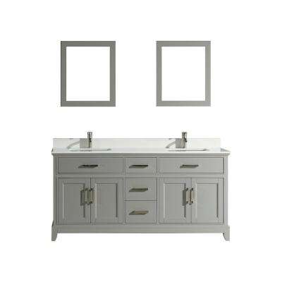 Genoa 72 in. W x 22 in. D x 36 in. H Bath Vanity in Grey with Vanity Top in White with White Basin and Mirror