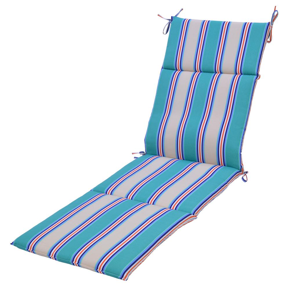 Plantation patterns llc seaglass stripe outdoor chaise for Black and white striped chaise lounge cushions