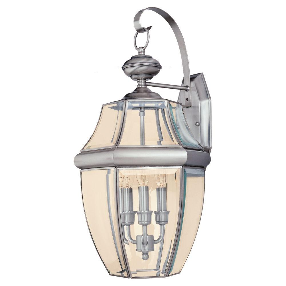 Sea Gull Lighting Lancaster 3-Light Antique Brushed Nickel Outdoor Wall Fixture