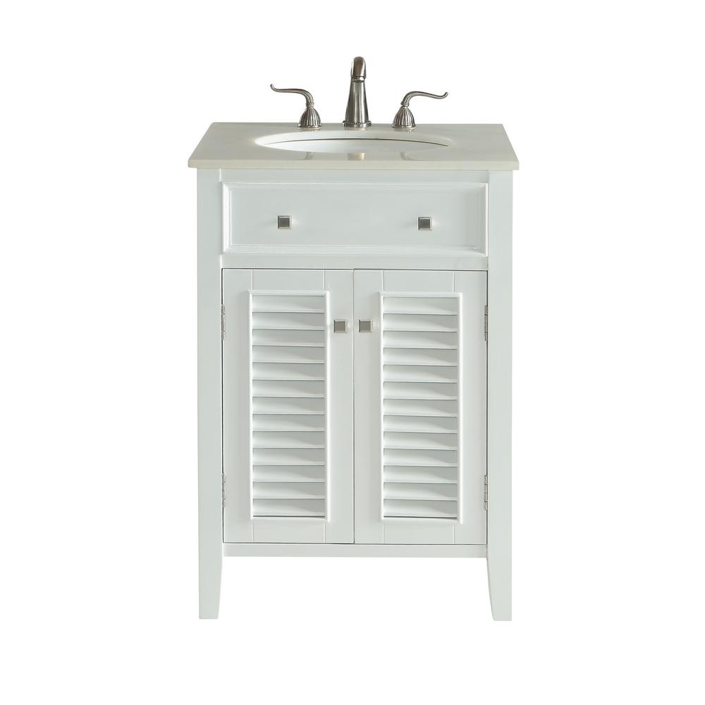 Bellaire 24 in. Single Bathroom Vanity with 1-Shelf 2-Doors Marble Top Porcelain Sink in White Finish