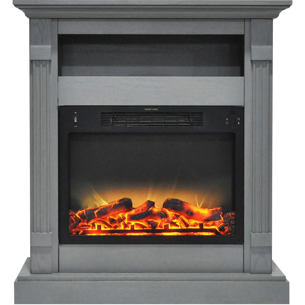 Cambridge Sienna 34 In Electric Fireplace With Enhanced Log Display And Gray Mantel