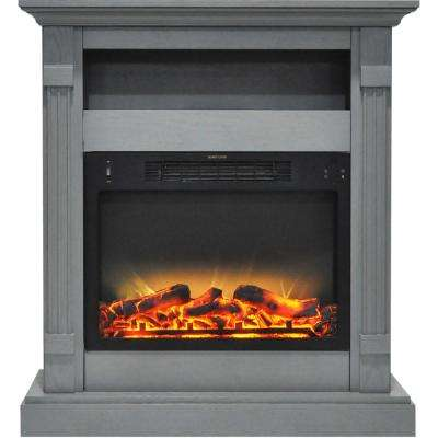 Sienna 34 in. Electric Fireplace with Enhanced Log Display and Gray Mantel