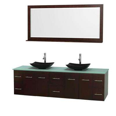 Centra 80 in. Double Vanity in Espresso with Glass Vanity Top in Green, Black Granite Sinks and 70 in. Mirror