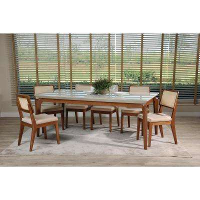 Payson 82.67 in. and Pell 2.0 7-Piece Off-White and Dark Beige Dining Set