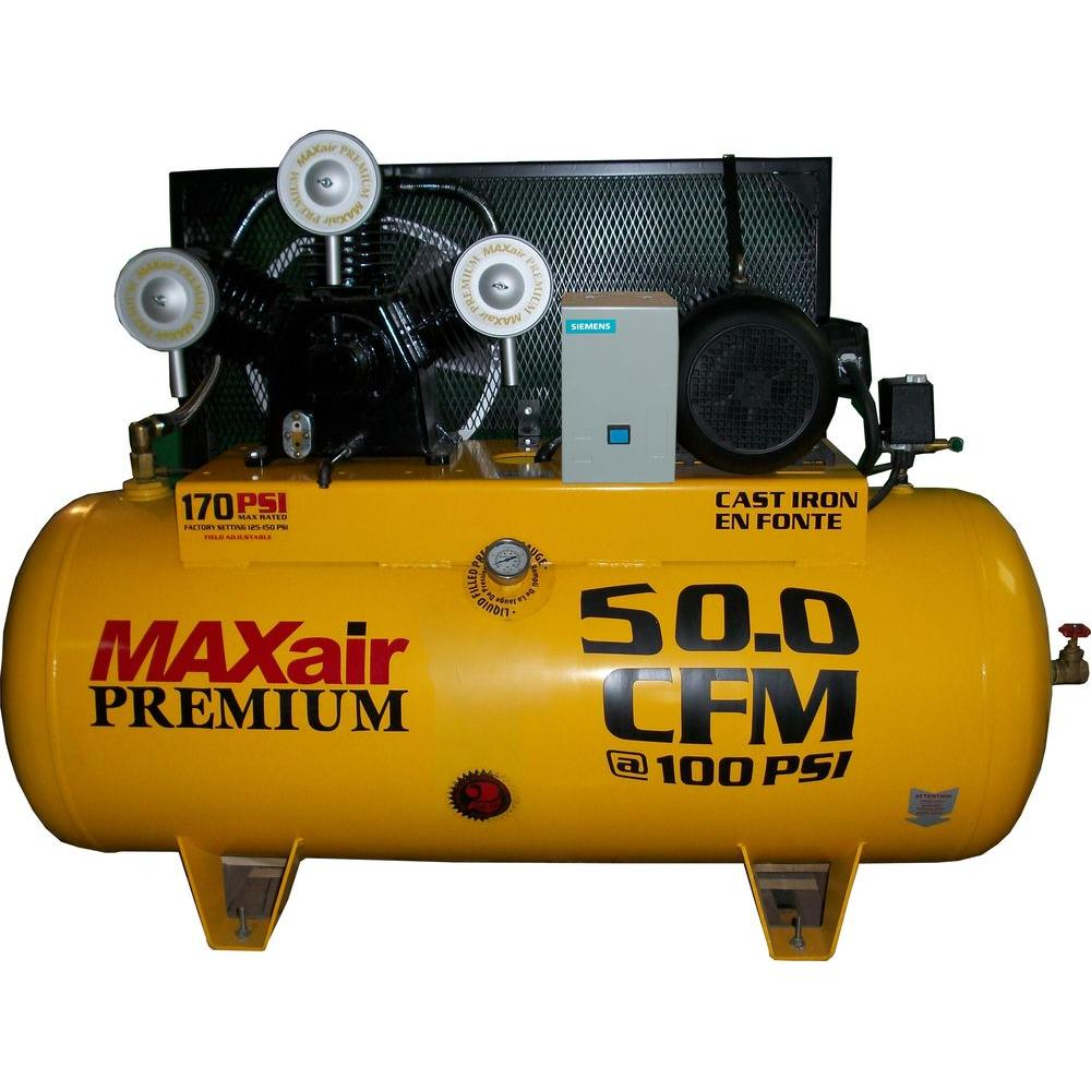 Maxair Premium Industrial 120-Gal. 10 HP 460-Volt Single Stage 3-Phase Air Compressor