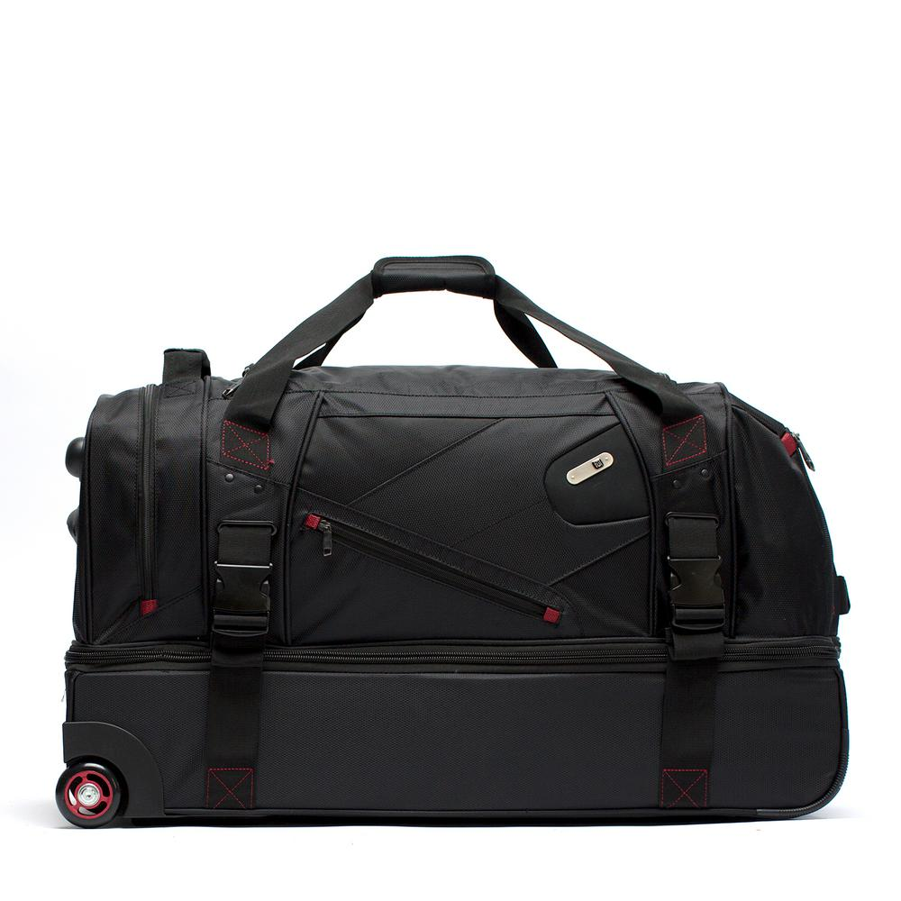 Tour Manager Deluxe 30 in. Black Rolling Duffel Bag, Retractable Pull
