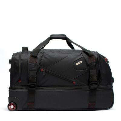 Tour Manager Deluxe 30 in. Black Rolling Duffel Bag, Retractable Pull Handle, Split Level Storage