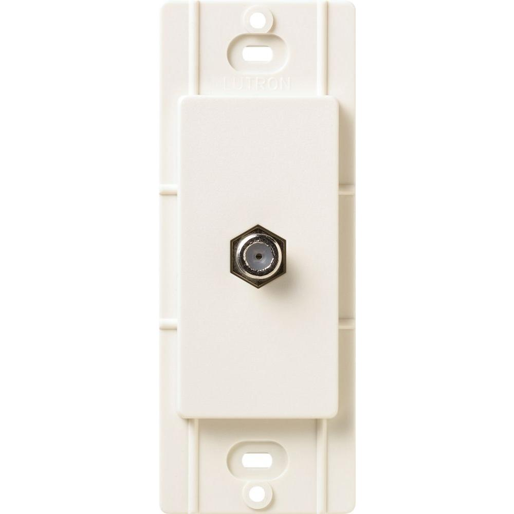 Lutron Satin Colors Coaxial Cable Jack - Biscuit