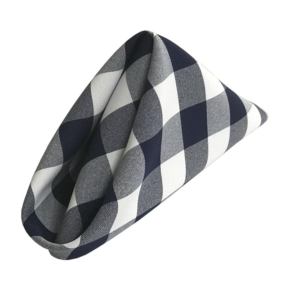 La Linen 18 In X Navy Blue Polyester Poplin Napkin 10 Pack Tendencies Caps Pop White And Gingham Checkered Napkins