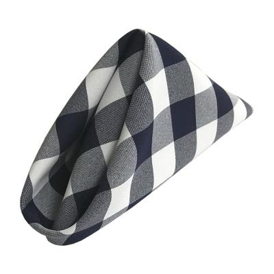 18 in. x 18 in. White and Navy Gingham Checkered Napkins (Pack of 10)