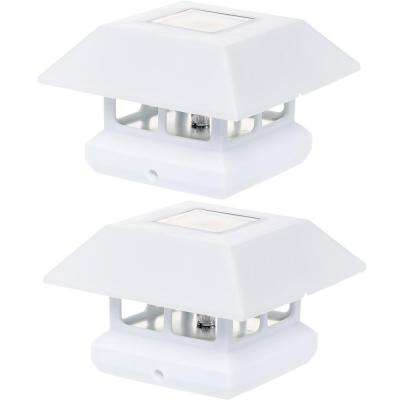4 in. x 4 in. Solar Powered Integrated LED White Post Cap Light for Nominal Wood Posts (2-Pack)