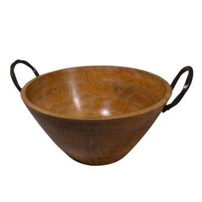 15.5 in. Brown Mango Wood Bowl with Metal Handle