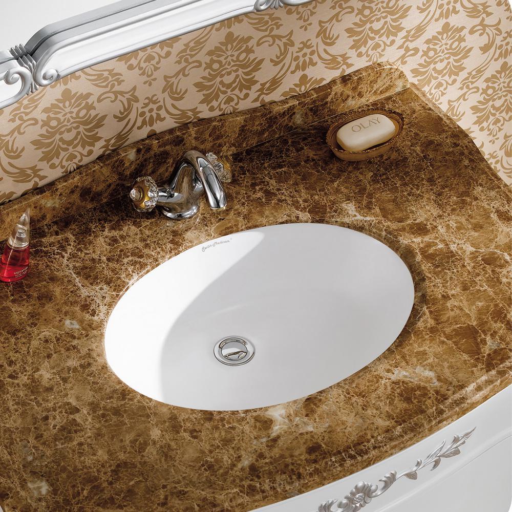 Monaco 18 in. Oval Under-Mount Bathroom Sink in White