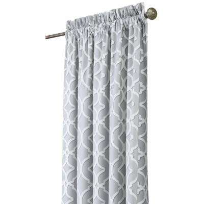 Semi-Opaque Nuri 108 in. L Cotton Drapery Panel in Pewter