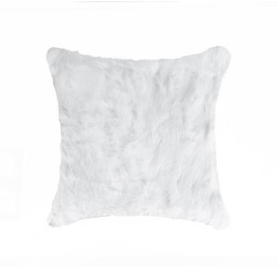 Rabbit Fur White Solid 18 in. x 18 in. Throw Pillow