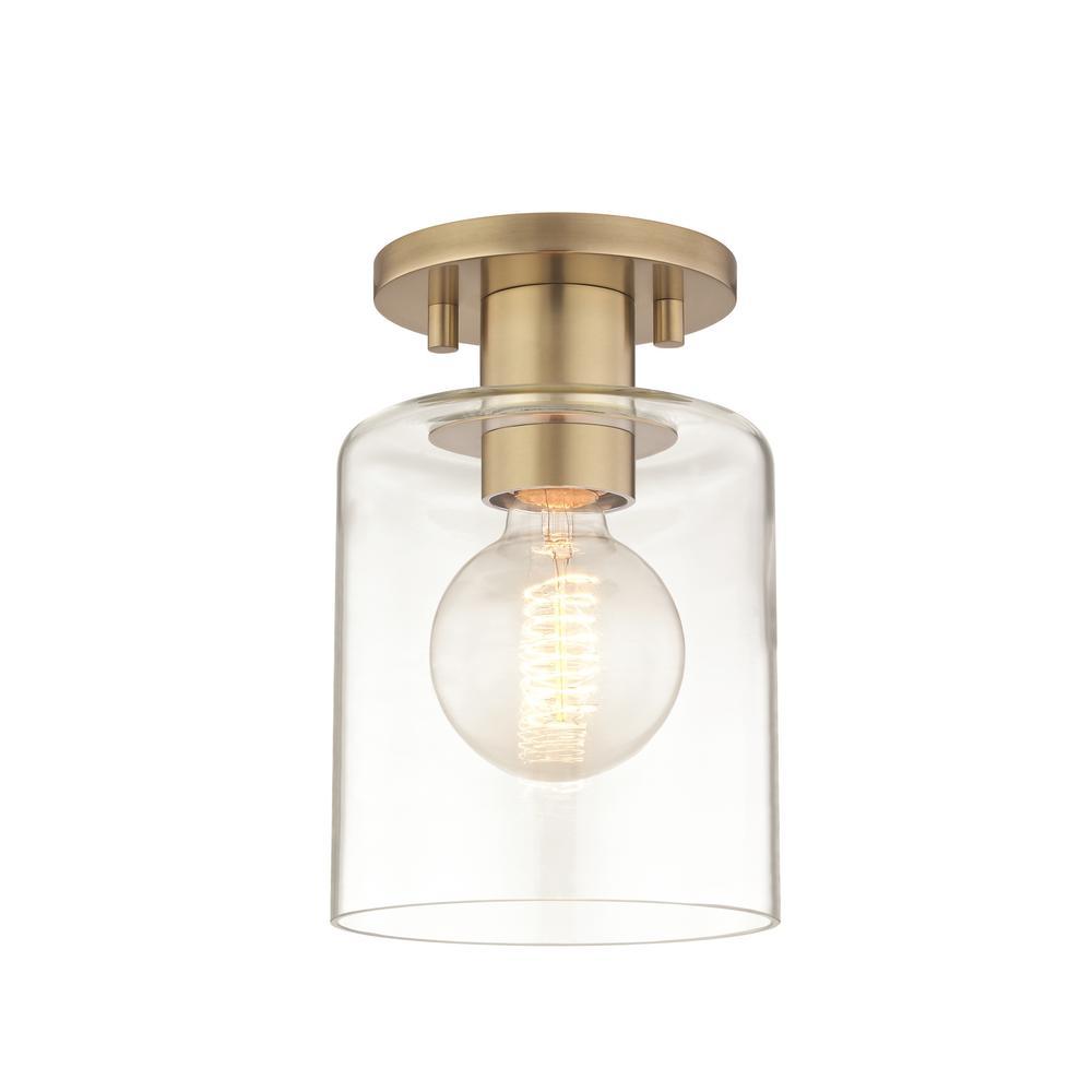 Neko 1-Light Aged Brass Semi-Flushmount with Clear Glass