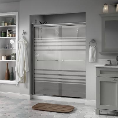 Everly 60 in. x 70 in. Semi-Frameless Traditional Sliding Shower Door in Chrome with Transition Glass