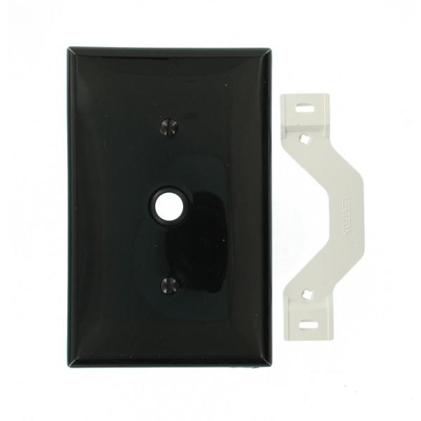 1-Gang Midway Size One 0.406 in. Dia Phone/Cable Opening Nylon Strap Mount Wall Plate in Black
