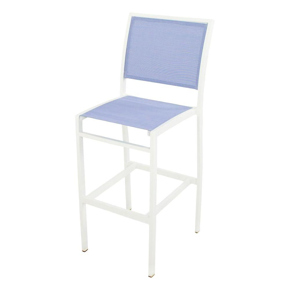 POLYWOOD Bayline Satin White All-Weather Aluminum/Plastic Outdoor Bar Side Chair in Poolside Sling