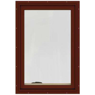 24.75 in. x 36.75 in. W-2500 Series Red Painted Clad Wood Right-Handed Casement Window with BetterVue Mesh Screen