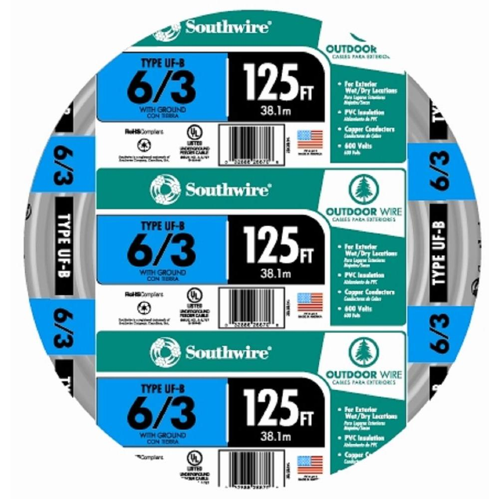 250 ft 14//2 CU UF-B W//G Electrical Cable Wire Outdoor Direct Burial Wet Rated