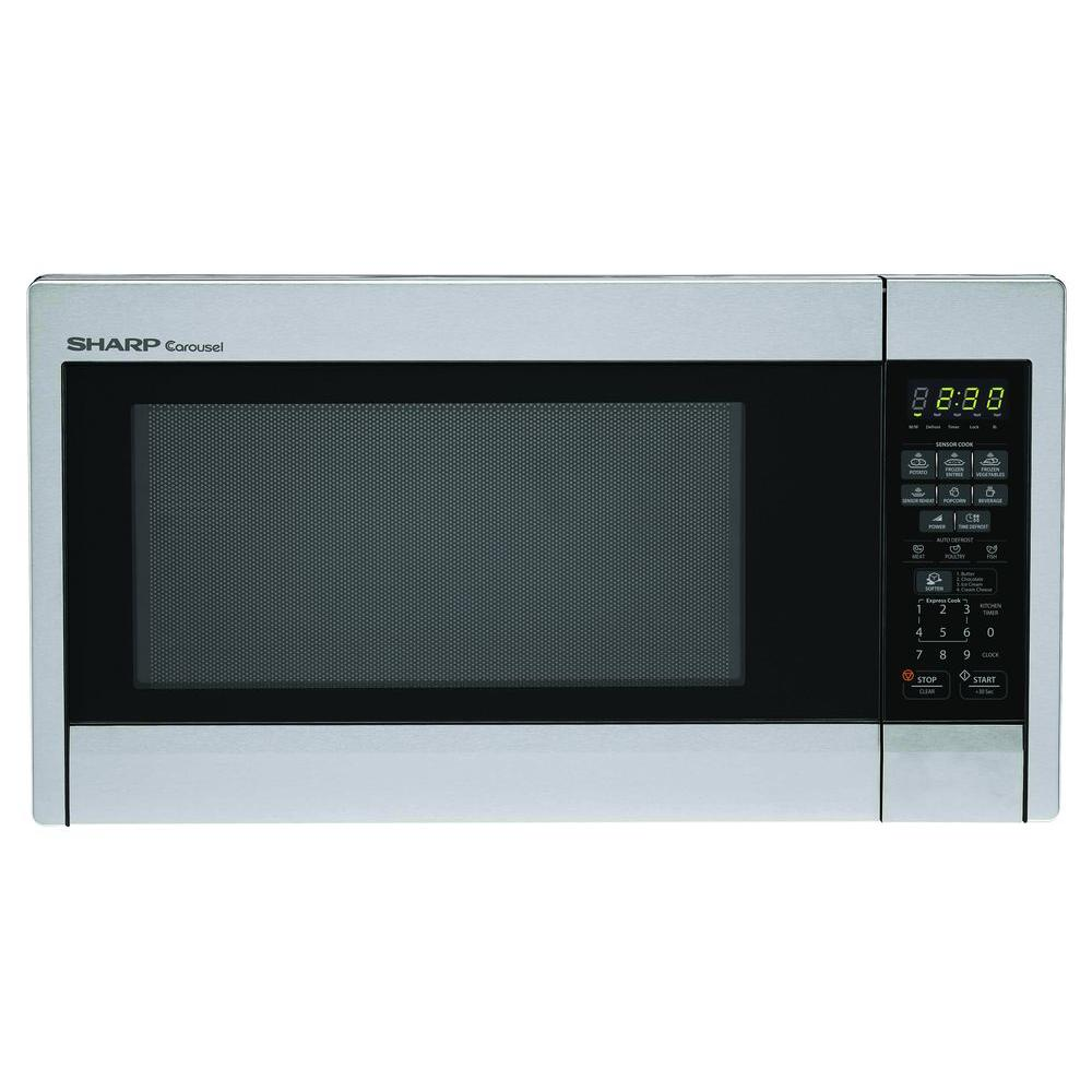 Sharp 1 3 Cu Ft Countertop Microwave In Stainless Steel With Sensor Cooking