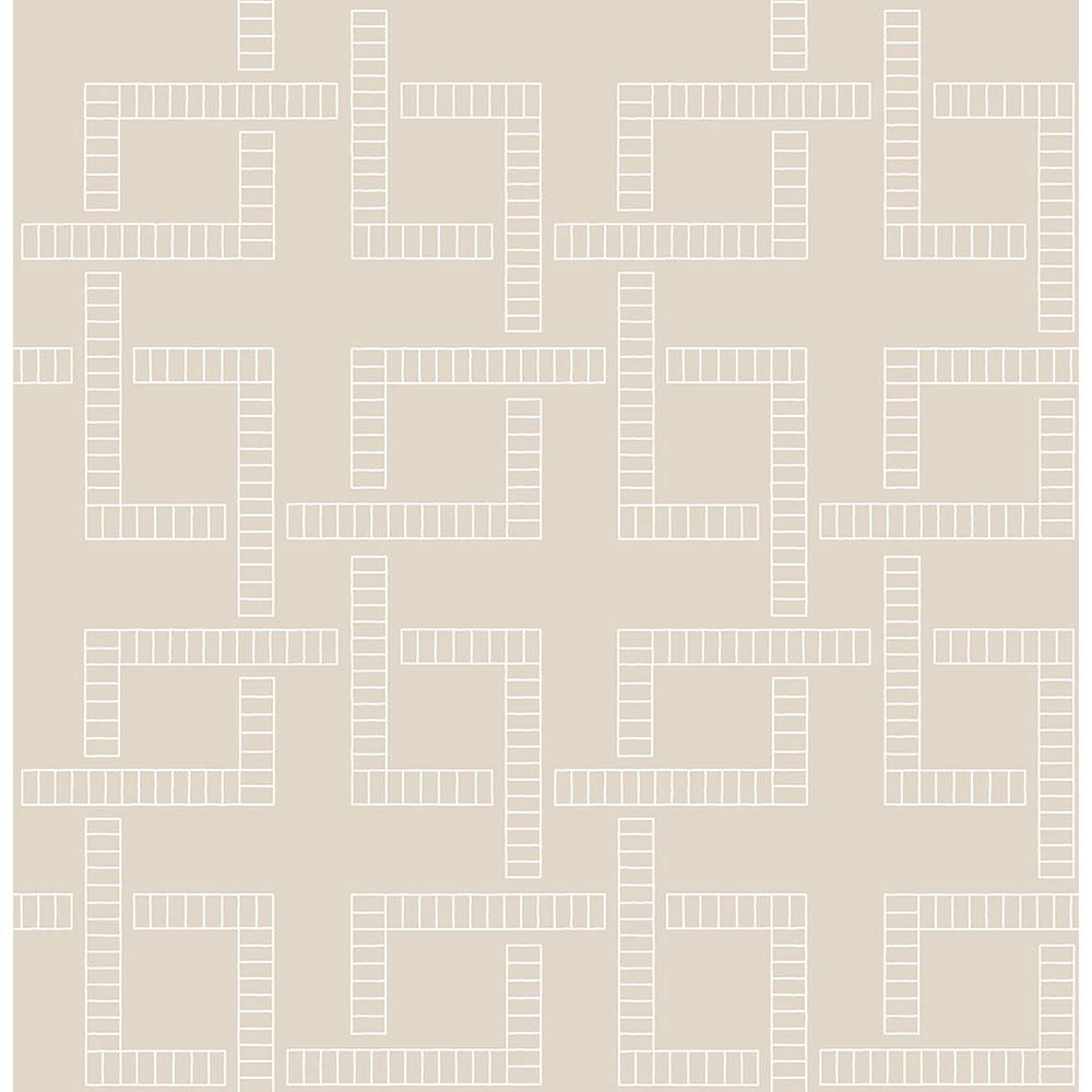 A-Street Theory Beige Geometric Wallpaper Sample