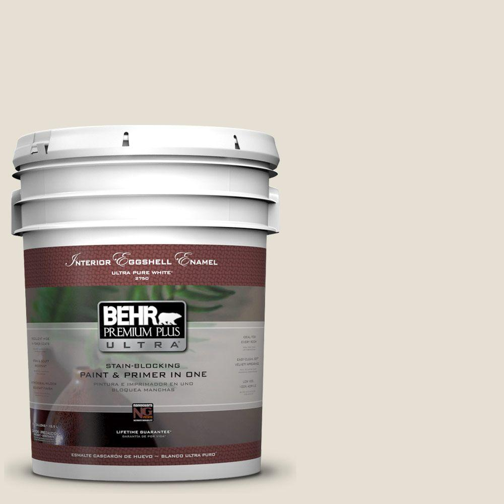 Behr Premium Plus Ultra 5 Gal 73 Off White Eggshell Enamel Interior Paint And Primer In One 275005 The Home Depot