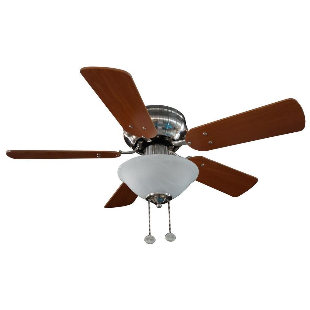 Hampton Bay Lugano 36 in. Satin Nickel Hugger Ceiling Fan with 5 Reversible MDF Blades and Single Alabaster Glass