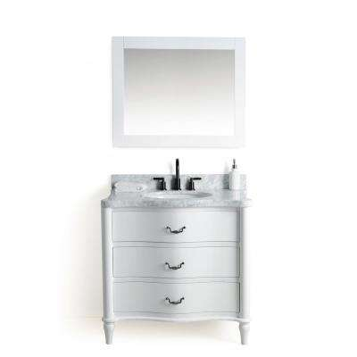 36 in. W x 22 in. D Vanity in White with Cararra Marble Vanity Top in White and Gray with White Basin and Mirror