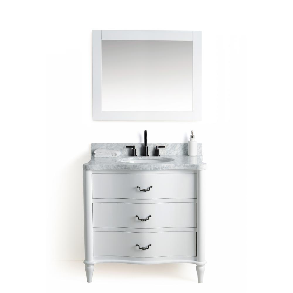 Legion Furniture 36 In W X 22 D Vanity White With Cararra Marble Top And Gray Basin Mirror