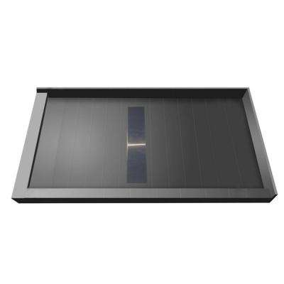 42 in. x 60 in. Double Threshold Shower Base with Center Drain and Solid Brushed Nickel Trench Grate