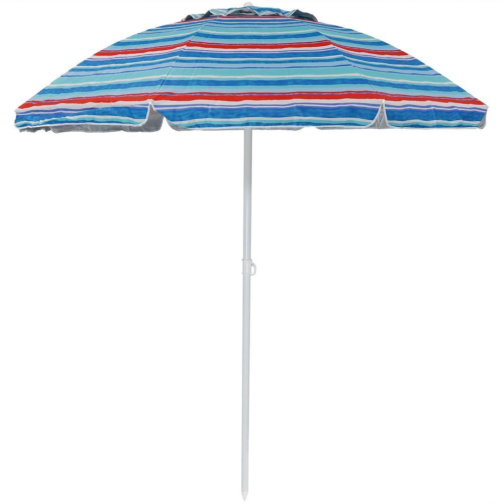 6 ft. UV Protection Stainless Steel Market Tilt Beach Umbrella in Pacific Stripe