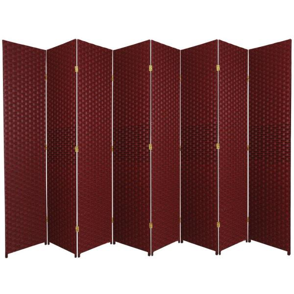 Oriental Furniture 7 Ft Red Black 8 Panel Room Divider