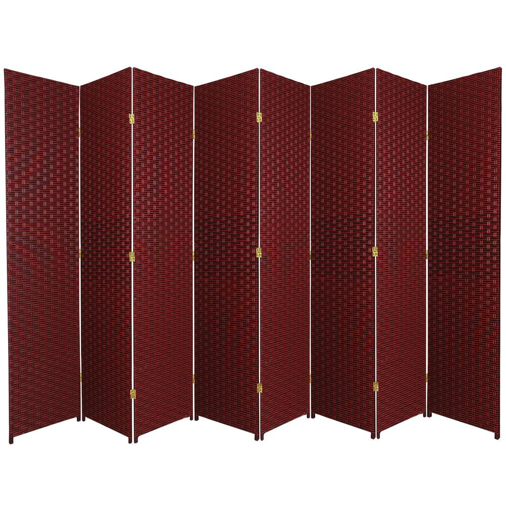7 ft Red Black 8 Panel Room Divider SS7FIBERRBLK8P The Home Depot