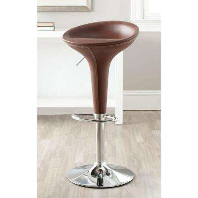Shedrack Adjustable Height Brown Swivel Cushioned Bar Stool