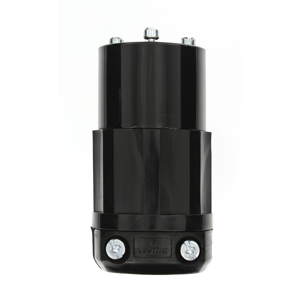20 Amp 125-Volt Locking Grounding Connector, Black