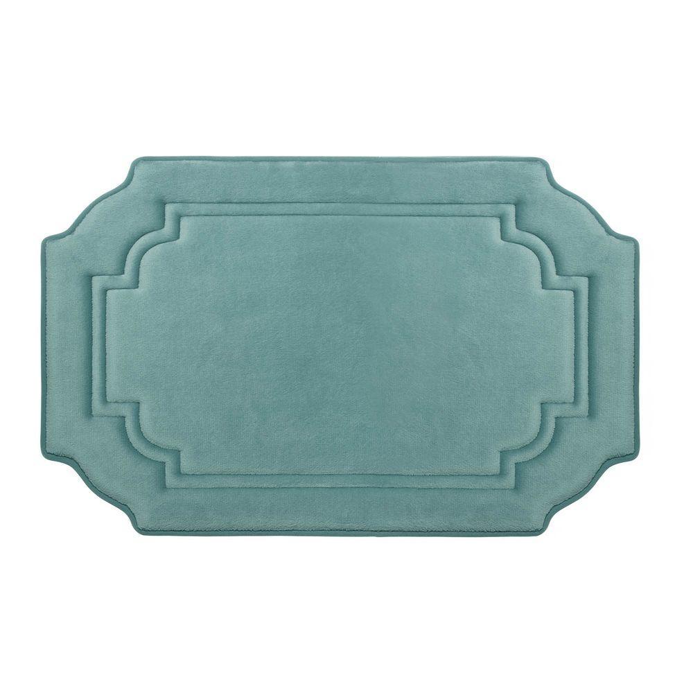 Calypso Marine Blue 17 in. x 24 in. Memory Foam Bath Mat