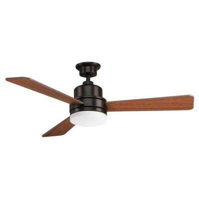 Trevina Collection 52 in. LED Indoor Antique Bronze Industrial Ceiling Fan with Light Kit