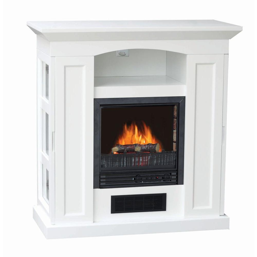 Stay-Warm 37 in. Electric Fireplace with Storage in White